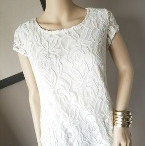 NWT. Short sleeve Cream Vintage Overlay Lace Top!